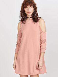 Pink Cutout Shoulder Sweatshirt Dress