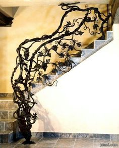 This would be amazing!! Tree limb staircase railing [ Wainscotingamerica.com ] #staircase #wainscoting #design