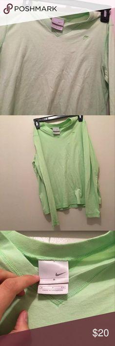 Women's V Neck Nike shirt Green v Neck women's Nike shirt. It looks like new! Nike Tops Tees - Long Sleeve