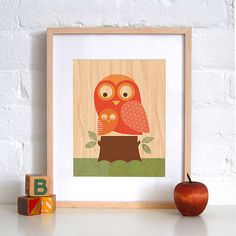 UNFRAMED 8x10 Owl with Baby by petitcollage on Etsy, $15.00