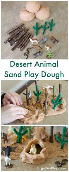 Desert Play Dough Pretend Play - Small world play, create a fun desert scene!