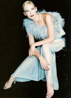 psychedelicfur Blue Eyed Baby, One Shoulder, Shoulder Dress, Blue Eyes, Supermodels, Strapless Dress, 1990s, Blog, Dresses