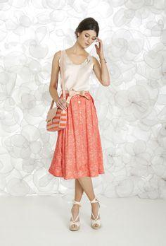 Maria Filó's orange skirt