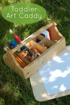 Playful Learning: Toddler Art Caddy. Challenge yourself to take art outdoors everyday!
