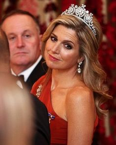 Queen Maxima of The Netherlands wore an embellished one-shoulder couture gown by Dutch designer Claes Iversen at a state banquet at Government House in New Zealand
