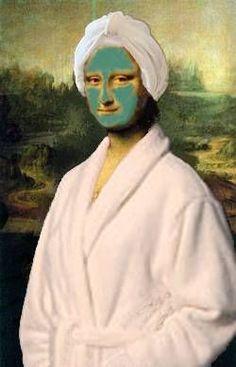 Mona Lisa or La Joconde de Léonard de Vinci (parody) Esthetician humor:) # Le Sourire De Mona Lisa, Lisa Gherardini, Michel De Montaigne, Mona Lisa Parody, Mona Lisa Smile, Photocollage, Arte Pop, Funny Art, Art History