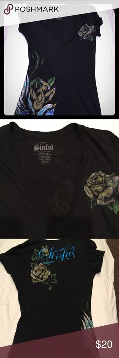 Sinful V-neck black t shirt size M In good condition, features V neck with rhinestones in the design Sinful Tops Tees - Short Sleeve