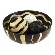 African Crafted Bowl with 3 Spheres - K-4221B