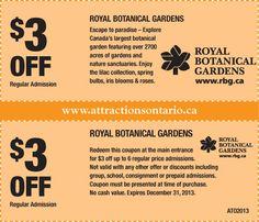 Royal Botanical Gardens  $3 OFF