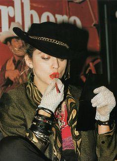 """Madonna on set of Desperately Seeking Susan, 1984 "" Mtv, 1980s Madonna, Desperately Seeking Susan, Pin Up, 80s Trends, La Madone, Fancy Dress Outfits, Pop Singers, Material Girls"