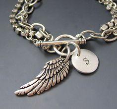 Silver Angel Wing Bracelet  Personalized Initial by stringofjewels, $45.98