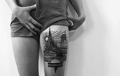 BeiHouston und Dagny geht es teilweise sehr traditionell zu. Das Künstlerduo hat sich zuThieves of Towergeformt und verschönern die Körper ihrer Kunden mit schwarzen Linien. Dabei arbeiten die beiden eher seltenganz klassisch mit Stift und Papier. Für
