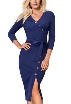 Elegant Vintage Bodycon Women Office Solid Color Split Wear to Work with  belt vestidos Blue Dress. 793a7c629
