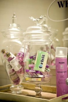 for the restroom at the reception. super cute idea and a cute way to tie in colors! hairspray and gum comes in ANY color!