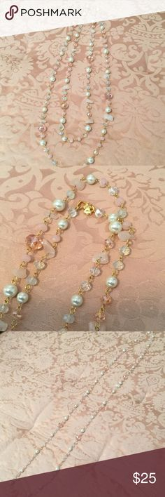 """Carolee pearl and pink crystal 60"""" necklace NWOT Carolee pearl and pink crystal 60"""" necklace.  Also has some pink abstract-cut stones. Gold chain links and heart-shaped lobster claw clasp. Can be worn long or doubled. Never worn. Carolee Jewelry Necklaces"""