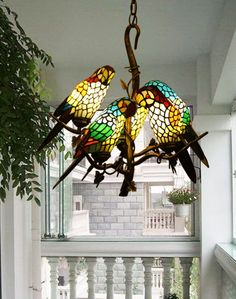 Vintage Tiffany Style Stained Glass Retro Five Parrot Pendant Lamp Chandelier. mom would have luved it in her office. Stained Glass Chandelier, Stained Glass Art, Mosaic Glass, Room Lamp, Bed Room, Desk Lamp, Vintage Lamps, Antique Lamps, Glass Birds