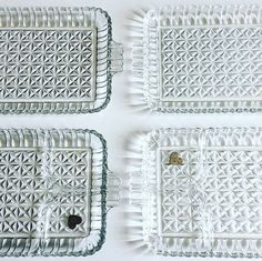 [Description] Glass! Delicate! Heavy! No chips or Damages on these beautiful trays and glasses. They can be used for sushi, tea or simple serving trays! Made by the Hazel Atlas Glass Company in the 40s and 50s, these trays are smooth, divided into 3 compartments. The underside is ribbed with its atomic design. The glasses are uniquely cut with handles made from glass little balls. [Measurements] (Individual tray) 11.2 x 6 x .5   [Connect] Follow me on Instagram for Daily Updates: @UrbanVintag... Tv Dinner Trays, Sandwich Platter, Vintage Dishware, Glass Company, Serving Trays, Vintage Wear, Chanel Boy Bag, Sushi, Balls