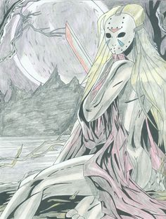 Female Jason Voorhees Artwork Drawing By Dwayne (Steeler 'The Whiplash' Craven) Mendez Female Jason Voorhees 2 Anime Halloween, Halloween Horror, Horror Icons, Horror Films, Jason Voorhees, Witch Art, Girl Costumes, Creepy, Deviantart
