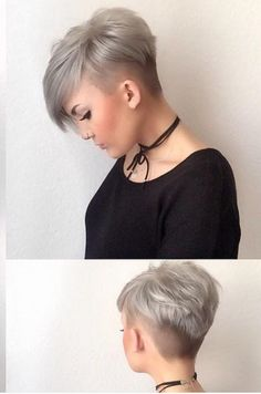 Frisuren – hair style for women Funky Short Hair, Super Short Hair, Short Grey Hair, Short Hair Cuts For Women, Short Hair Styles, Asymetrical Short Hair, Funky Pixie Cut, Pixie Cuts, Short Hair Undercut