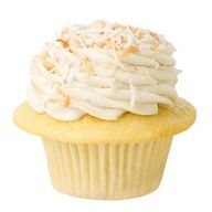 Banana Colada Golden Buttermilk Cupcake with Real Banana Icing and Toasted Coconut on top.