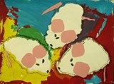 Mouse Paint: We mixed the primary colors for a background, then tore white mice. We added pink ears and tails, and then the eyes and noses.