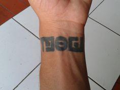 "my first #tattoo #name ""mogi"" #ambigram luung sajan.. tai biin ditu"