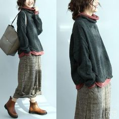 Diary Elena_Businka: LiveInternet - Russian Service of Online Diaries Always wanted to learn how to knit, nevertheless not certain where to start? Knit Sweater Outfit, Loose Sweater, Boho Fashion, Autumn Fashion, Moda Boho, Bohemian Mode, Hipster Outfits, Pulls, Diy Clothes