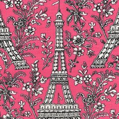 Michael Miller-Pink Eiffel Tower-1 YARD. $6.50, via Etsy.