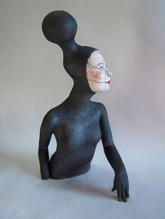 black - woman - figurative ceramic sculpture - Melanie Bourget