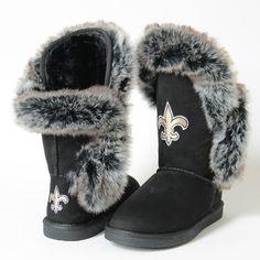 """New Orleans Saints Cuce """"Champions"""" Faux Fur Ladies' Boots"""
