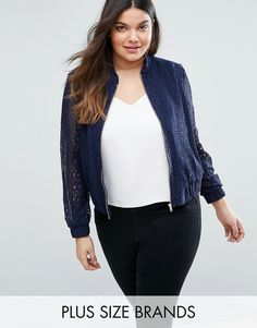 Buy it now. Elvi Plus Lace Bomber - Navy. Plus-size jacket by Elvi, Partially lined lace, Baseball collar, Zip fastening, Stretch hem and cuffs, Regular fit - true to size, Machine wash, 90% Polyester, 10% Spandex, Our model wears a UK 18/EU 46/US 14 and is 180 cm/5'11� tall. ABOUT ELVI Elvi keeps you ahead of the curve with its premium plus-size collection. Available in (UK) sizes 18 � 26, it translates the latest catwalk looks into standout pieces that offer some serious shimmer � thi...
