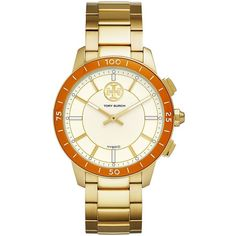 Tory Burch Women's ToryTrack Collins Gold-Tone Stainless Steel... ($295) ❤ liked on Polyvore featuring jewelry, watches, no color, tory burch watches, gold-tone watches, tory burch, tory burch jewelry and preppy jewelry
