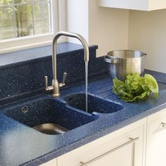 Blue Corian worktops and sink   Kitchen   PHOTO GALLERY   Beautiful Kitchens   Housetohome.co.uk