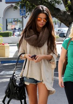 Selena Gomez style denim shorts casual