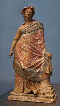 Young woman leaning on a column Myrina, Greek Asia Minor 2nd century B. C.