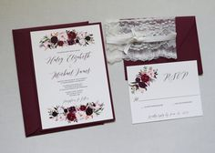 Bohemian Marsala Wedding Invitation, Elegant Wedding Invitation, Lace Wedding Invitation, Fall Wedding Invitation, Blush, Marsala, Vintage. Impress your wedding guests with this gorgeous & professionally designed custom wedding invitation suite featuring a stunning combination of a calligraphy font, beautiful marsala floral design, elegant lace and ribbon. The suite is fully customizable to include any wording you would like They are printed on a soft off white, layered on burgundy cards...
