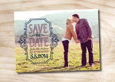 Vintage Scroll Wedding Save the Date, Printable DIY