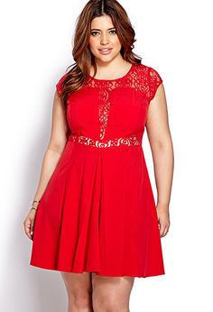 red lace insert dress plus size Christmas Holiday Style #UNIQUE_WOMENS_FASHION