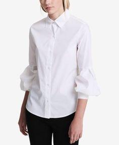 Calvin Klein Cotton Bishop-Sleeve Blouse - White XS