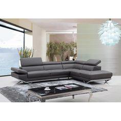 VIG- Quebec Divani Casa Modern Dark Grey Leather Sectional Sofa