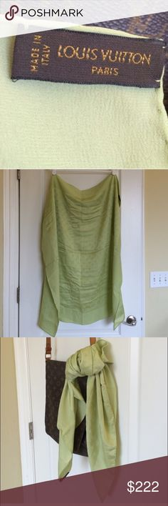 Louis Vuitton large scarf It's brand new without tag. Very cute line green color. 100% pure silk!! AUTHENTIC so please do not ask. 👍🏼✨ Louis Vuitton Accessories Scarves & Wraps
