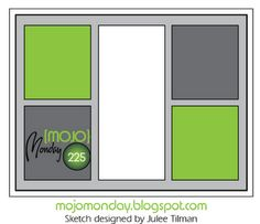 "Mojo Monday 225: blocking: four 1-1/2"" x 1-5/8"" panels and one 1-1/2"" x 3-1/2"" panel, then space evenly on a 4"" x 5.25"" panel and mount to a normal size card base."