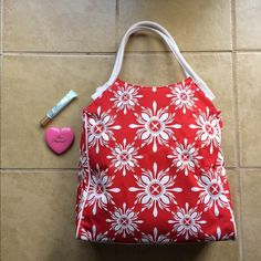 Red and White Print Tote Perfect for the season! Bright and cheery. Vegan leather and canvas. Brand new without tags. Bags Totes