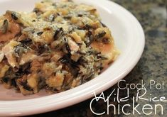This crock pot chicken recipe is really easy, and super-flavorful. I came up with it by adding wild rice to one of the chicken recipes my grandma used to make and modifying it for the crock pot. Easy Family Meals, Frugal Meals, Easy Meals, Slow Cooker Recipes, Crockpot Recipes, Chicken Recipes, My Favorite Food, Favorite Recipes, Rice Stuffing
