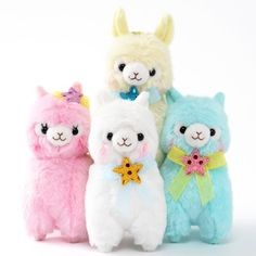 """Order the complete set and receive a randomly selected mini plushie as a free bonus!Please note that the series and version of the free bonus mini plushies will be selected at random. Get ready to be dazzled by the blushing idols of Amuse's Alpacasso Kirarin Star line~! They're so dedicated to their loving fans that they even transformed themselves into soft plushies that measure in at 4.7"""" x 2.6""""... #tokyootakumode #plushie #Alpacasso"""