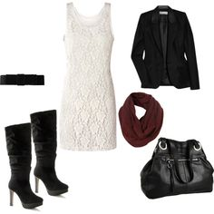 white lace dress with black blazer and boots.  Maroon scarf to add some color-- i want i want