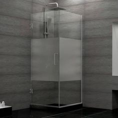 DreamLine Unidoor Plus 30-3/8 in. x 30 in. x 72 in. Hinged Shower Enclosure with Half Frosted Glass in Brushed Nickel - SHEN-24300300F-HFR-04 - The Home Depot