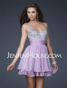 - $133.99 - A-Line/Princess V-neck Short/Mini Chiffon  Charmeuse  With Ruffle  Beading (022004341) http://jenjenhouse.com/A-line-Princess-V-neck-Short-Mini-Chiffon--Charmeuse-Homecoming-Dresses-With-Ruffle--Beading-022004341-g4341