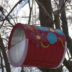 Easy Coffee Can Bird Feeders #diy #bird #feeder by maggymaes..... Maybe use a baby formula container instead?!