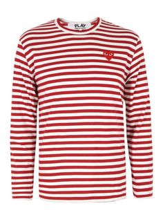 Comme des Garcons PLAY – mens long sleeve t-shirt with a woven red and white stripe, crew neck and an embroidered Heart chest emblem.  The Comme des Garcons Play Heart t-shirts are made in Japan and designed by the artist Philip Pagowski.  Comme des Garcons PLAY at Coggles.com. £105. #cdg #coggles fashion http://www.coggles.com/item/Comme-des-Garcons-PLAY/T164-Red-Stripe-T-Shirt/AYCQ#